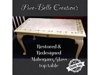 Restored and Redesigned Glass top dark oak table