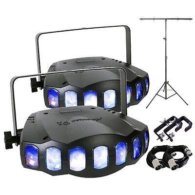 2x American DJ Revo Sweep LED Moonflower Disco DJ Lighting & T-Bar Package