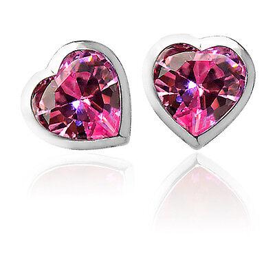 3 Mm Sapphire Heart - 3mm-6mm HEART PINK SAPPHIRE SCREW BACK EARRINGS 14K WHITE GOLD BABY-ADULT-CHILD
