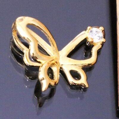 Butterfly Diamond Pendant Charm SOLID 14k Yellow Gold Women Jewelry Gift S41 Diamond Butterfly Pendant Jewelry