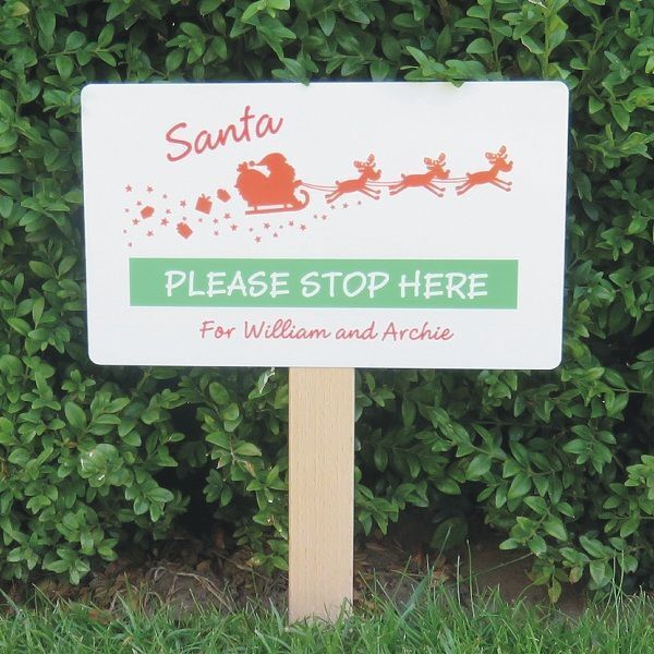 Personalised+Santa+Stop+Here+Sign+-+Sleigh+Design+-+Festive+Christmas+Decoration