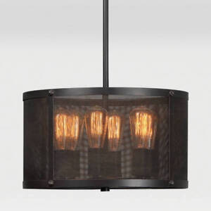 Renwil Livingstone 6 Light Black Mental Mesh Steel Shade