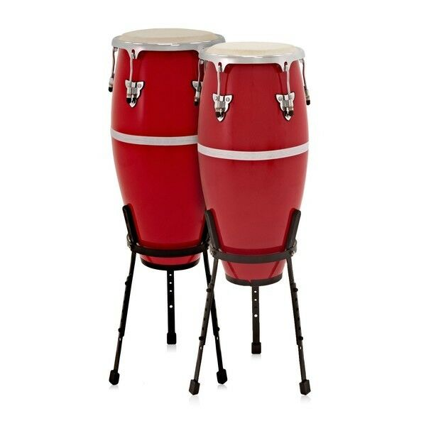 Fibreglass Conga Drums 10'' + 11'' Set with Stands by Gear4music