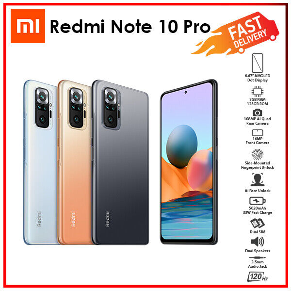 Android Phone - (New&Unlocked) Xiaomi Redmi Note 10 Pro 8GB+128GB Quad Cam Android Mobile Phone