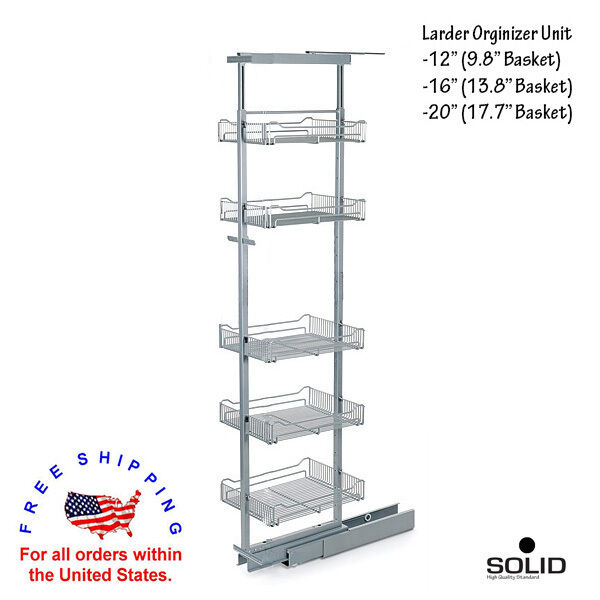 """12""""-20"""" 5 Tier Larder Unit Pantry Pull Out System Organizer Adjustable Height Ki"""
