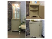Hand painted vintage corner unit, display cupboard,