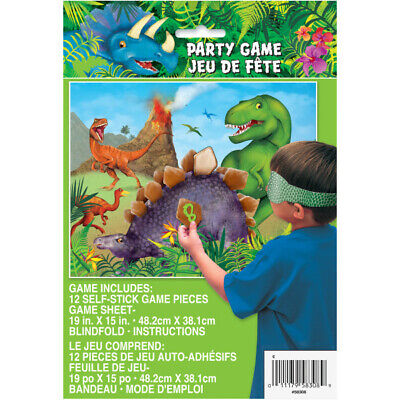 ** DINOSAUR PARTY GAME STICK THE SPIKE BOYS BIRTHDAY FUN 12 PLAYERS - Dinosaur Party Games