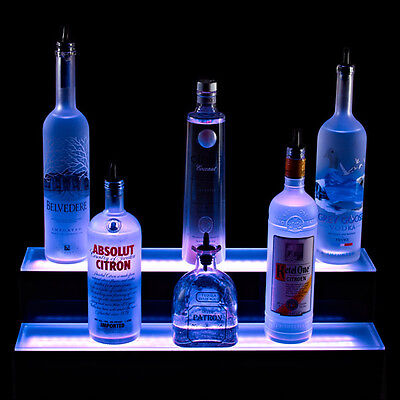 2 Tier Led Lighted Liquor Bottle Display Shelf - 3 Foot Length - Bar Decor Stand