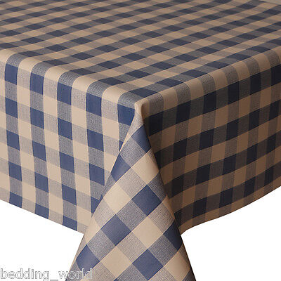 PVC TABLE CLOTH PICNIC BLUE GINGHAM CHECK NAVY WIPEABLE PROTECTOR PLASTIC VINYL (Blue Gingham Plastic Tablecloth)