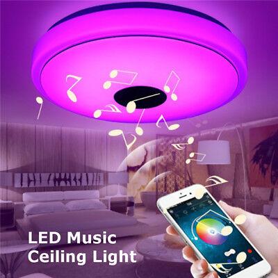 Modern Music Ceiling Light 48W 36-LED Bluetooth Speaker Flush Mount Down Fixture