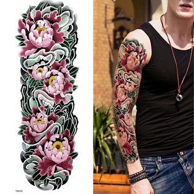 Rosen Blumen Flora Schwarz Kompletter Arm Entfernbar Tattoo Ärmel Körper Sticker