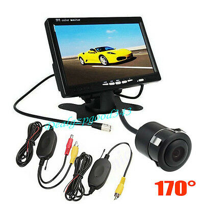 "7"" TFT LCD Monitor Car Rear View Kit + Wireless Mini Reversing Camera 170° Angle"