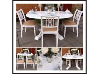 French Chic Vintage White Dining Table & 4 Chairs ~ Shabby Chic ~ Oval