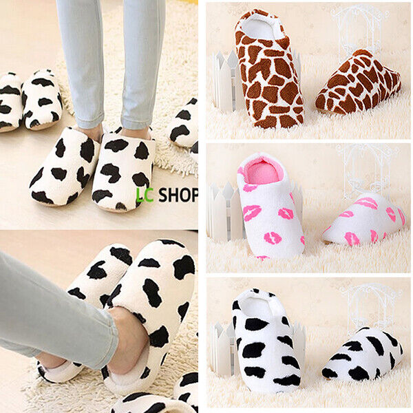 Womens Winter Cute Cat Indoor Non-slip Slippers Soft Home Plush House Shoes