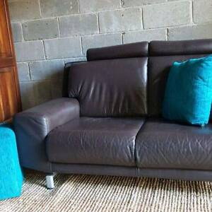 Genuine Leather Two Seater Lounge Couch Sofa Dark Chocolate Brown Coogee Eastern Suburbs Preview