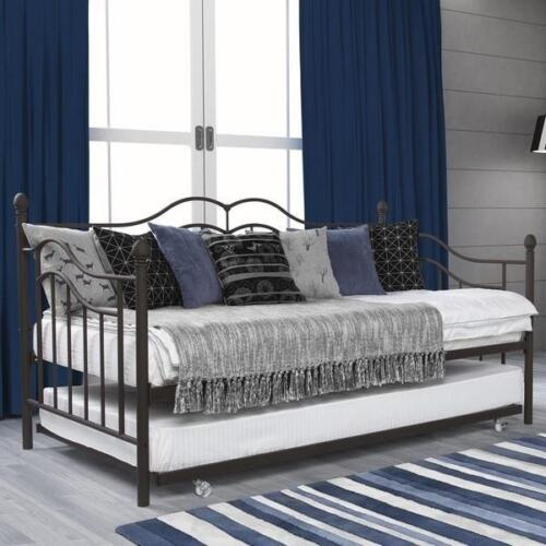 Metal Daybed and Trundle Twin Bed Set Sofa Day Extra Seating