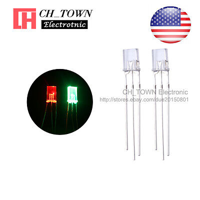 100 2x5x7mm Common Cathode Water Clear Bi-color Red Green Rectangular Led Diodes