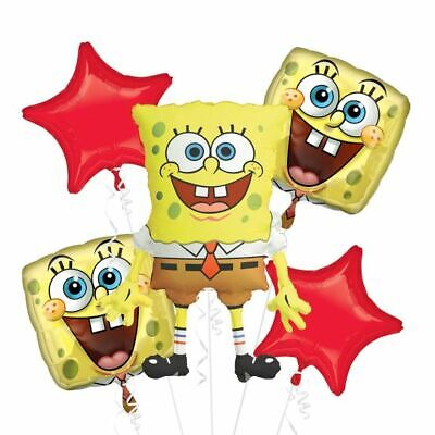 Nickelodeon Spongebob Themed 5pc Birthday Supershape Foil Balloon Bouquet
