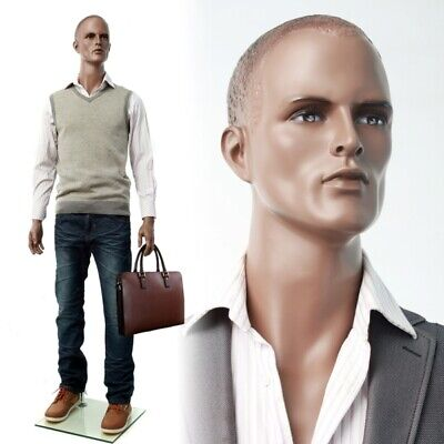 African American Male Adult Muscular Fiberglass Realistic Mannequin With Base