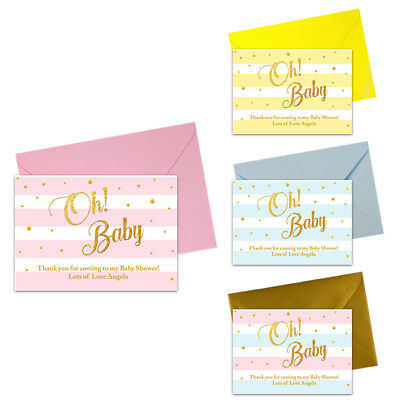 PERSONALISED BABY SHOWER THANK YOU NOTES CARDS LETTERS PRESENTS FAVOURS BOY GIRL