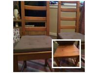 2 solid wood high backed dining chairs
