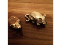 Pewter mouse and hedgehog