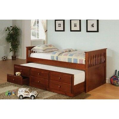 (Coaster 300105 Twin Daybed with Trundle & Drawers, Cherry Finish NEW)