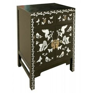 Black And Silver Butterfly Laquered Oriental Style 2 Door 2 Drawer Cabinet