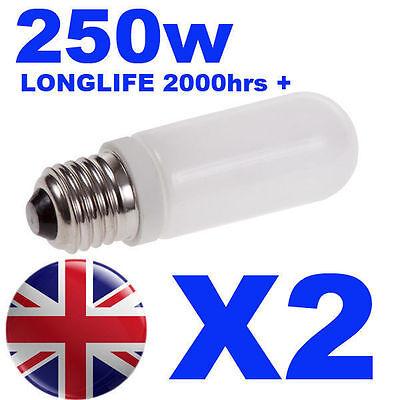 2x Halogen Long Life Modelling Bulb / Lamp / Light 250w for Bowens / Elinchrom