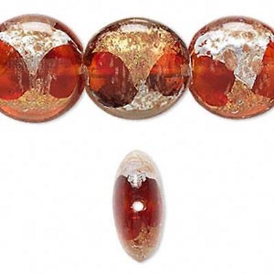 5726 Lampwork Glass Beads Foiled Red PK10*UK EBAY SHOP*