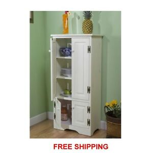 White Tall Cabinet Storage Kitchen Pantry Organizer Furniture Bathroom Cupboard