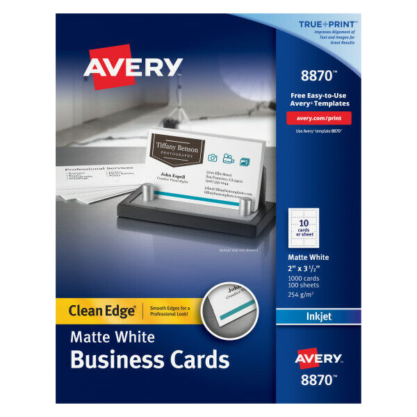 "Avery Inkjet Clean-Edge 2-Side Printable Business Cards, 2"" x 3 1/2"", 1000-Pk"