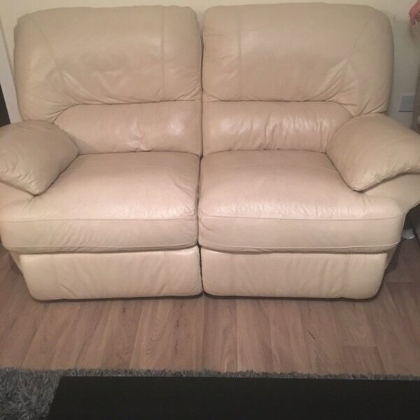 FREE TO COLLECT Cream two seater recliner sofa