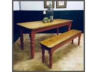 STUNNING NEW 6FT HANDMADE PINE FARMHOUSE TABLE AND BENCH