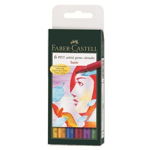 Faber Castell Artist Pitt Brush Pens BASIC Colours Wallet Set of 6 Pens.