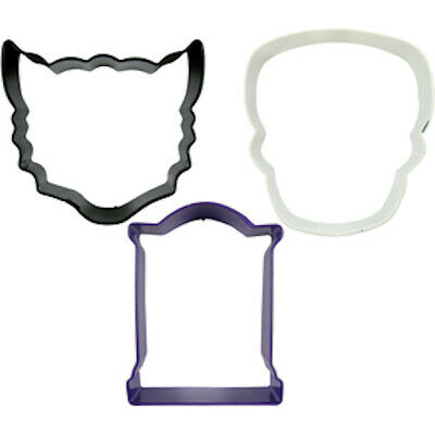 Wilton Halloween Cookie Cutters (Wilton Halloween Cookie Cutters cat skull gravestone Party Supply trick or)