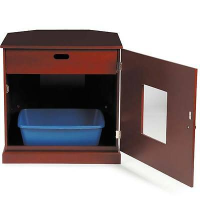 NEW Solid Mahogany Cat Litter Cabinet / End Table with - Litter Cabinet