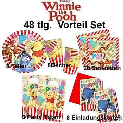 48tlg. Vorteil-Set Winnie the Pooh II Kinder Geburtstag Party Deko Teller Becher (Winnie The Pooh Geburtstag Party)