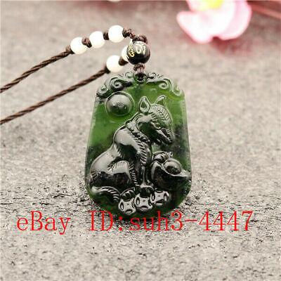 Black Green Jade Chinese Zodiac Pendant Necklace Charm Jewelry Amulet