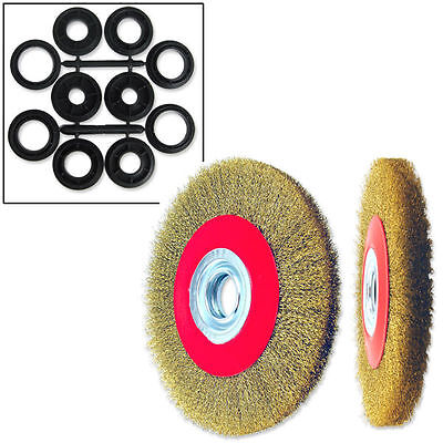 """1pc  6"""" Crimped Wire Brush, Wide Face for Bench & Angle Grinder Polishing"""
