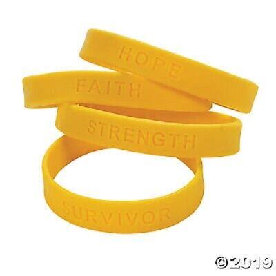 24 Yellow Silicone Awareness Sayings Bracelets Childhood Cancer - Cancer Awareness Bracelets