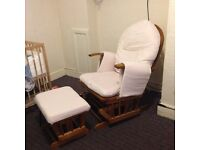 Glider maternity rocking chair with footstool
