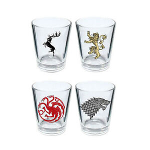NEW* Game of Thrones SHOT GLASSES - Set Of 4 - Glass - STARK LANNISTER TARGARYEN