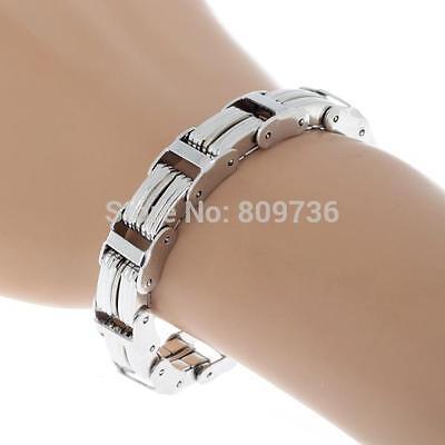 Mens Chain Link Wristband Bangle Cuff Steel Bracelet Rubber Silver Tone 21-7