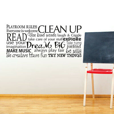 Playroom Rules Wall Sticker Children Quote Vinyl Art Baby Room Mural Decor Idea