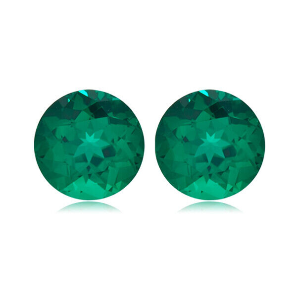 0.81-0.95 Cts of 5x5 mm AAA Round Russian Lab Created Emerald  Loose Gemstones