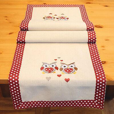 Tischläufer 40  x 140 cm Eulen Tischdecke Tischtuch Herbstdeko Landhaus rot