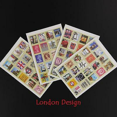 4 Sheets of Vintage London sticker stamps for Crafts, Scrapbooking etc