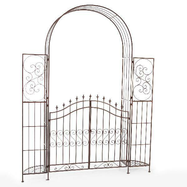 Large Garden Arbor with Gate Planter Stands Metal Arch Patio