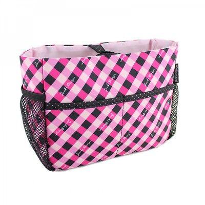 Hot Pink Plaid Design - JACKI DESIGN Retro Plaid BLACK/PINK/HOT PINK Cosmetic Organizer Bag - NEW!